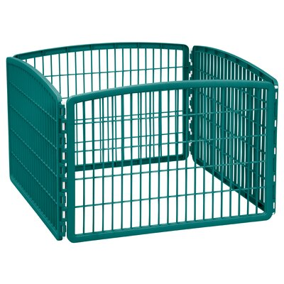 4-Panel Plastic Pet Pen Color: Green