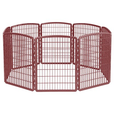 8 Panel Plastic Pet Pen Color: Brown