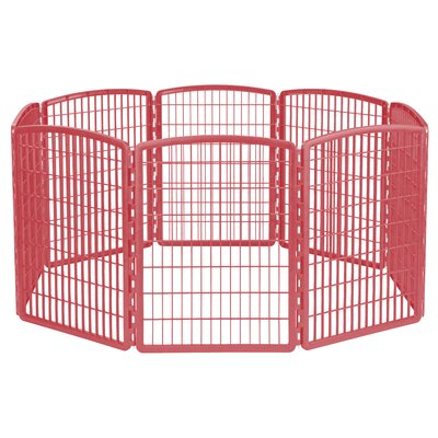 8 Panel Plastic Pet Pen Color: Red
