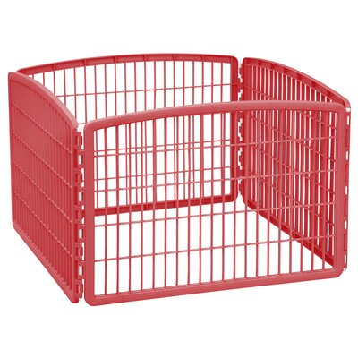 4-Panel Plastic Pet Pen Color: Red