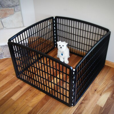 4-Panel Plastic Pet Pen Color: Black