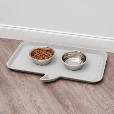 Woof Feeding Mat Size: Medium, Color: Light gray