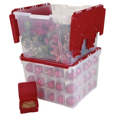 IRIS Holiday Wing Lid Organizer Set with Ornament Dividers