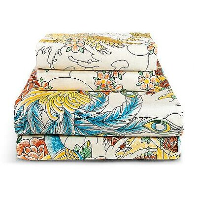 Geisha Garden 300 Thread Count Peacock Sheet Set Size: Queen