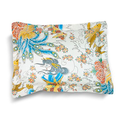 Geisha Garden Peacock Pillow Sham