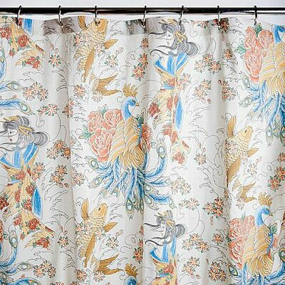 Geisha Garden Cotton Peacock Shower Curtain