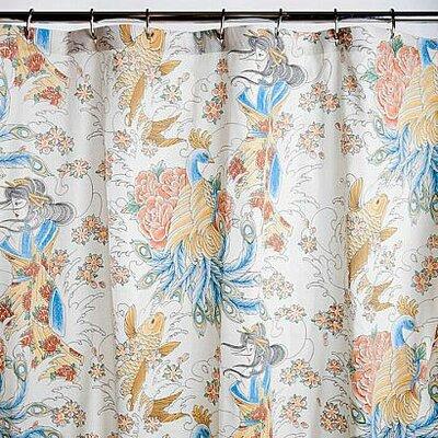 Geisha Garden Cotton Peacock Shower Curtain