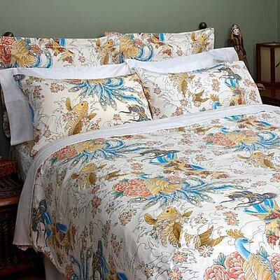 Geisha Garden Peacock Comforter Size: King