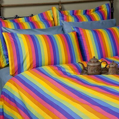 Colorful Rainbow Duvet Cover Set Size: King