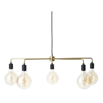Tribeca Chambers 5-Light Sputnik Chandelier Finish: Brushed Brass, Size: 38 W x 38 D
