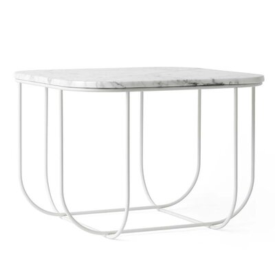 Cage End Table Color: White/White Marble