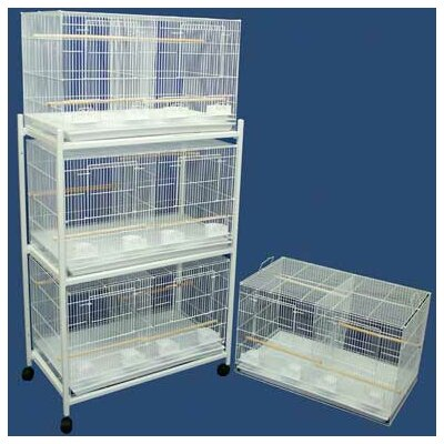 Four Medium Bird Cage with 4 Feeder Doors Color: White
