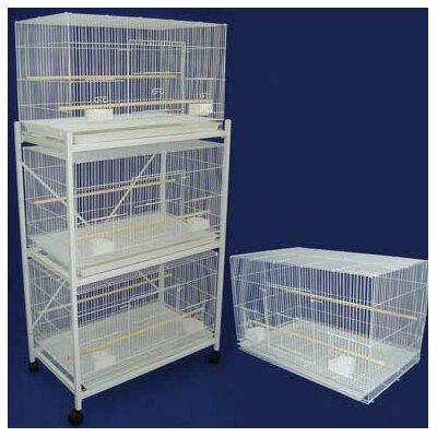 Four Medium Bird Cage with 2 Feeder Doors Color: Antique Silver Cage and Black Stand