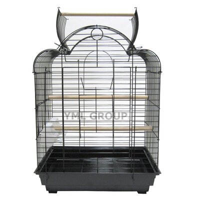 Open Scallop Play Top Bird Cage Color: Black Stand