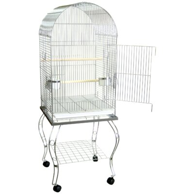 Dome Top Parrot Bird Cage with Stand Color: Chrome