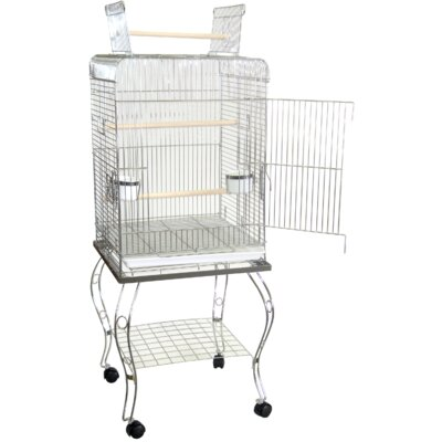 Halbert Open Top Parrot Bird Cage with Stand Color: Chrome