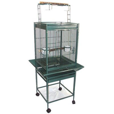 Play Top Parrot Bird Cage with 2 Feeder Doors Color: Green