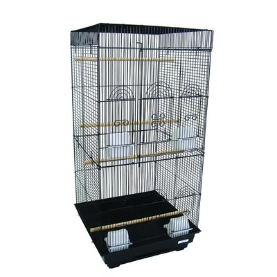 Tall Square Top Small Bird Cage Color: Black