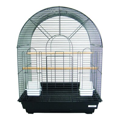 Round Top Small  Bird Cage Color: Black