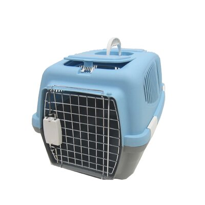 Plastic Pet Carrier Size: Small (12 H x 12 W x 18 L), Color: Blue