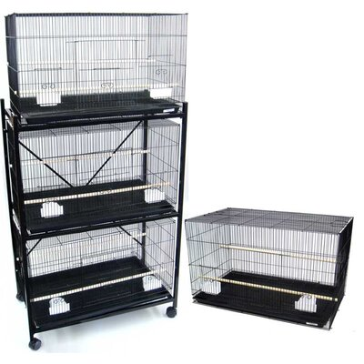 Four Medium Bird Cage with 2 Feeder Doors Color: Black