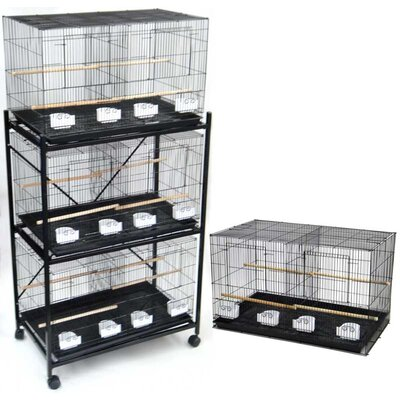 Four Medium Bird Cage with 4 Feeder Doors Color: Black