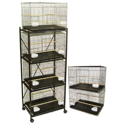 Six Small Bird Cage with 2 Feeder Doors Color: Black