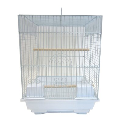 Flat Top Bird Cage Color: White