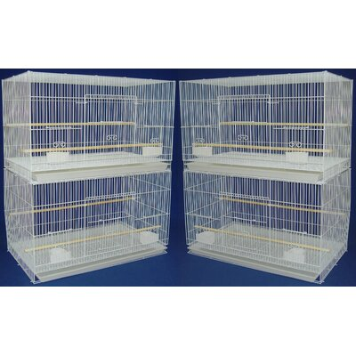 YML Group 4x2474WHT and 1x4164WHT Lot of 4 Medium Breeding Cages with One 3 Tie Stand - White