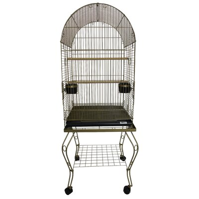Dome Top Parrot Bird Cage with Stand Color: Gold