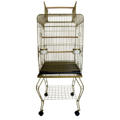 Open Top Parrot Bird Cage with Stand Color: Gold