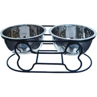 "Wrought Iron with Double Bowls Size: Small (5"" H x  12.25"" W x 6"" D) DDB5"