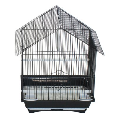 House Top Style Small Parakeet Cage With Food Access Doors Color: Black