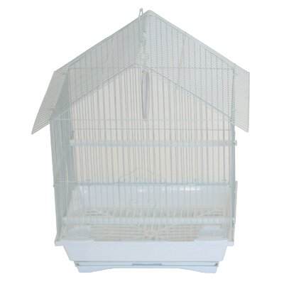 House Top Style Small Parakeet Cage With Food Access Doors Color: White
