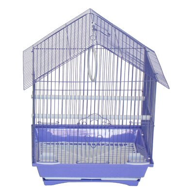 House Top Style Small Parakeet Cage With Food Access Doors Color: Purple