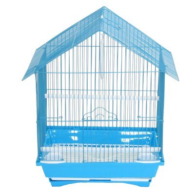 House Top Style Small Parakeet Cage With Food Access Doors Color: Blue