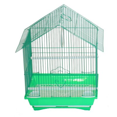 House Top Style Small Parakeet Cage With Food Access Doors Color: Green