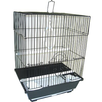 Flat Top Medium Parakeet Cage with Food Access Door Color: Black