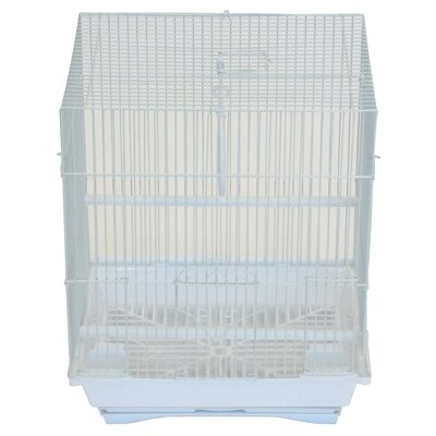 Flat Top Medium Parakeet Cage with Food Access Door Color: White