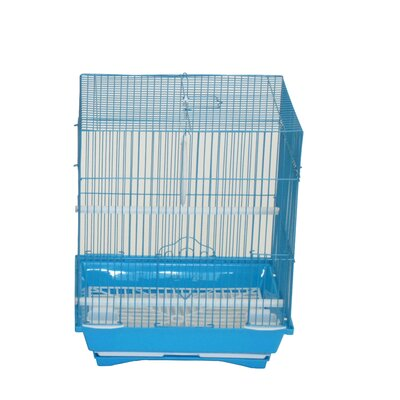 Flat Top Medium Parakeet Cage with Food Access Door Color: Blue