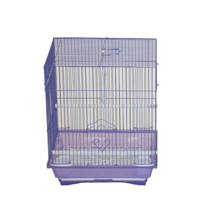Opal Flat Top Medium Parakeet Cage with Food Access Door Color: Purple