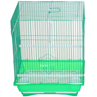 Flat Top Small Parakeet Cage with Food Access Door Color: Green