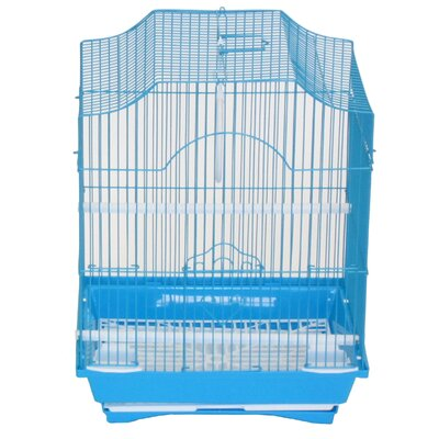 Cornerless Flat Top Bird Cage Color: Blue