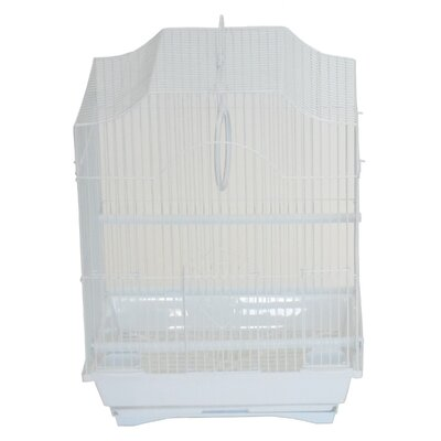 Cornerless Flat Top Bird Cage Color: White