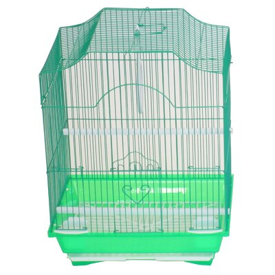 Cornerless Flat Top Bird Cage Color: Green