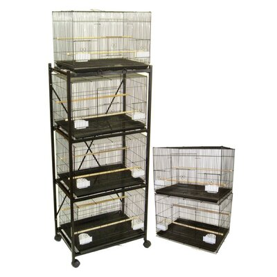 Six Small Bird Cage with 4 Feeder Doors Color: Black