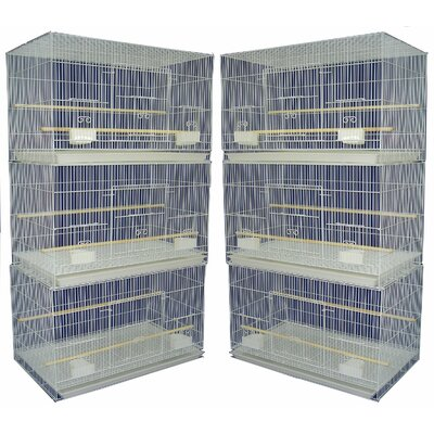 YML Group 6x2424WHT and 1x 4134WHT Lot of 6 Small Breeding Cages with One 4 Tie Stand - White