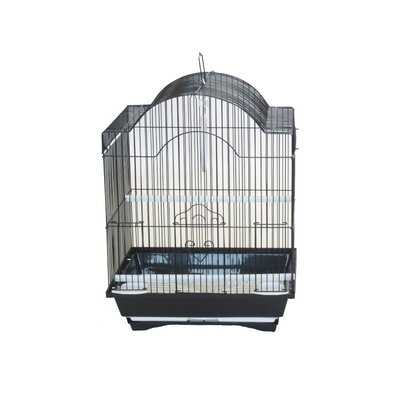 Cornerless Round Top Shape Bird Cage Color: Black