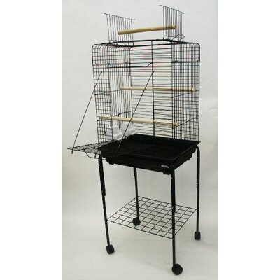 Open Play Top Small Parrot Bird Cage with Stand Color: Black