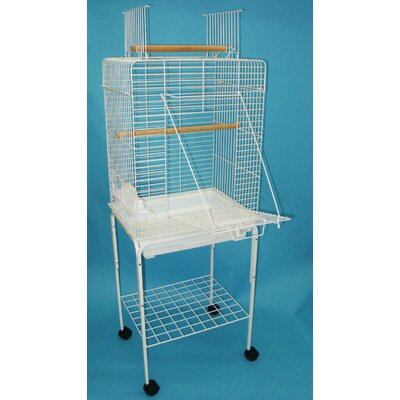 Open Play Top Small Parrot Bird Cage with Stand Color: White